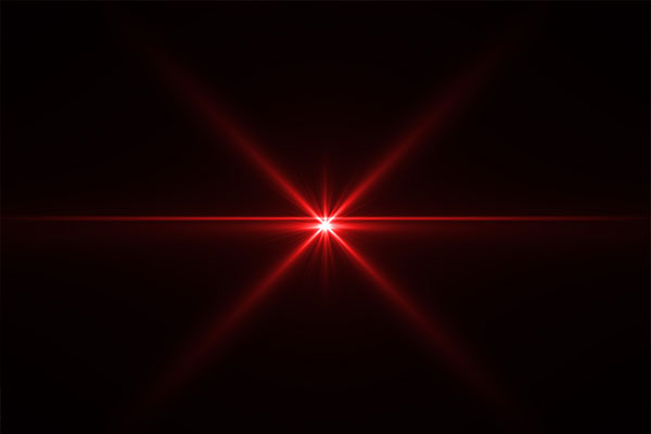 Abstract laser star red